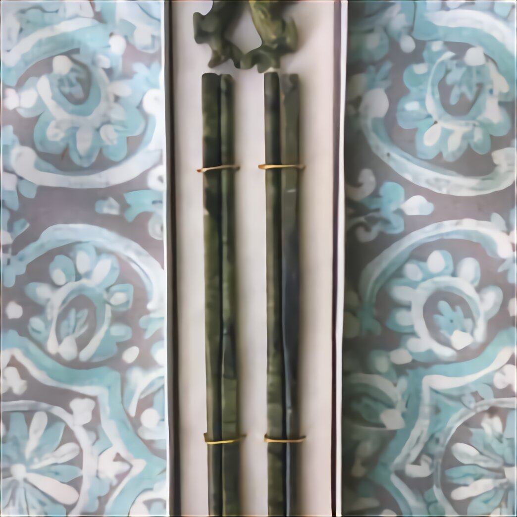 ONE Pair of Vintage Chinese Carved Green Jade Jadeite Chopsticks in Gift Box