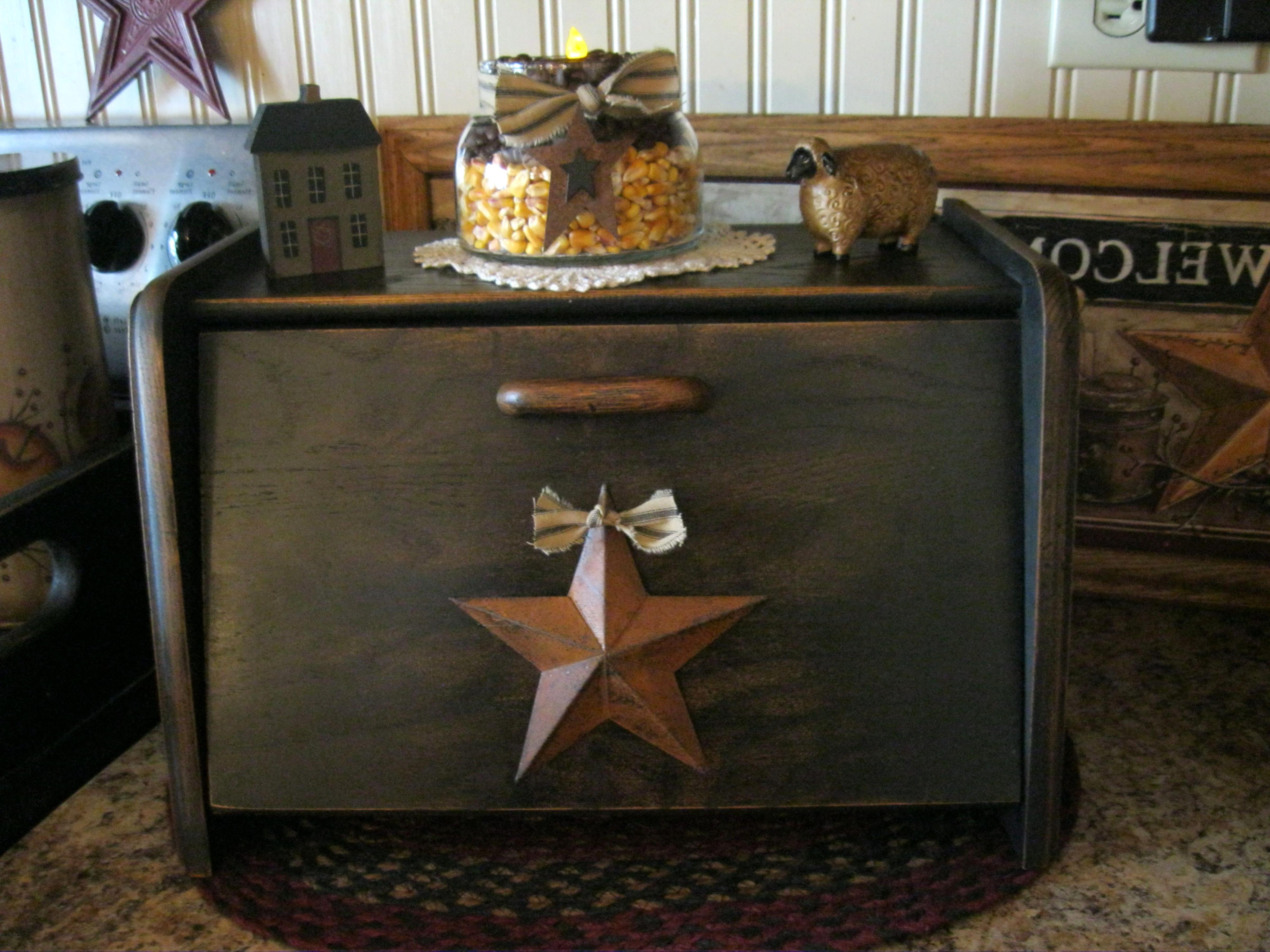 New Primitive Rustic BLACK STAR PUNCHED TIN WOOD BREAD BOX Shelf Cabinet