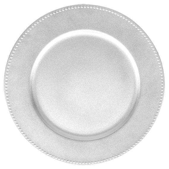 12-1//2-Inch Beaded Edge Clear Plastic Charger Plate 1-Count