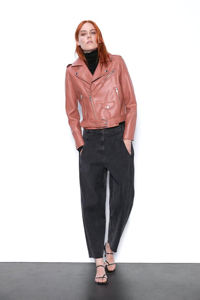 zara faux leather jacket for sale