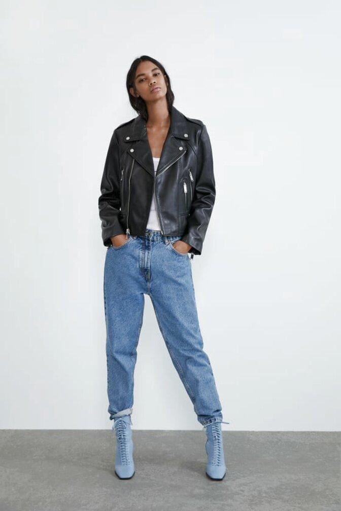 zara leather jacket for sale