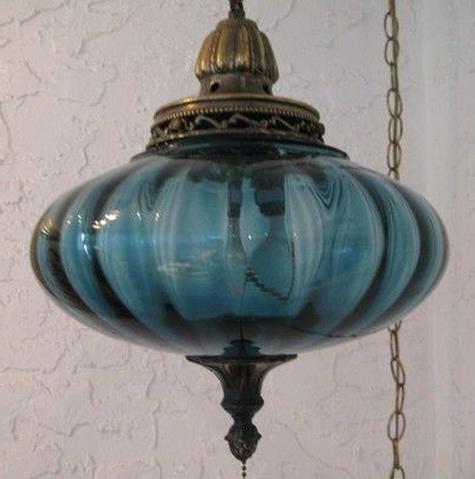 vintage blue swag lamp for sale