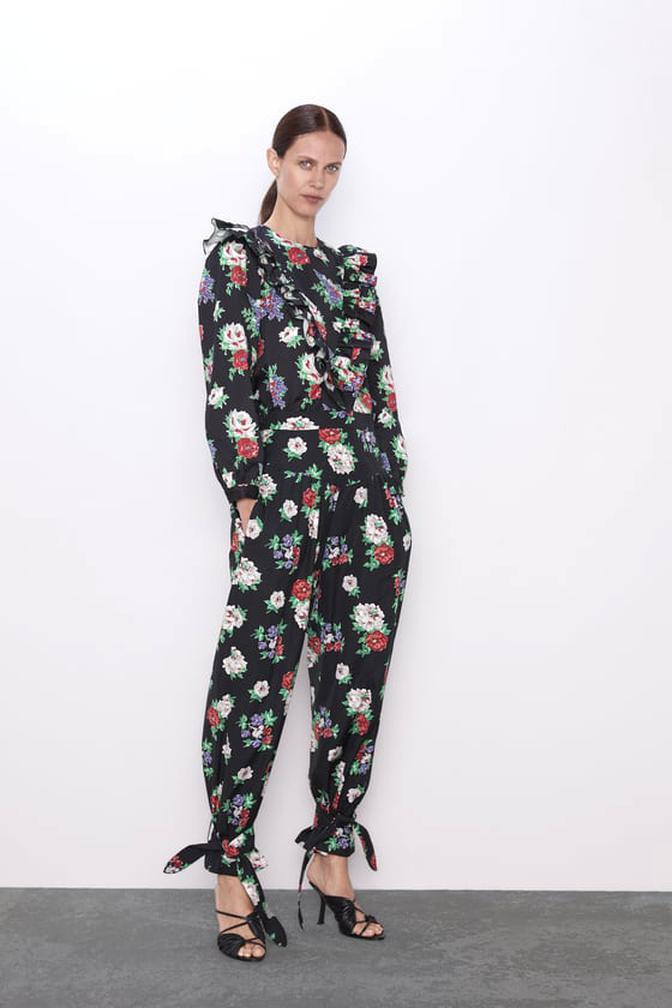 zara printed pants for sale