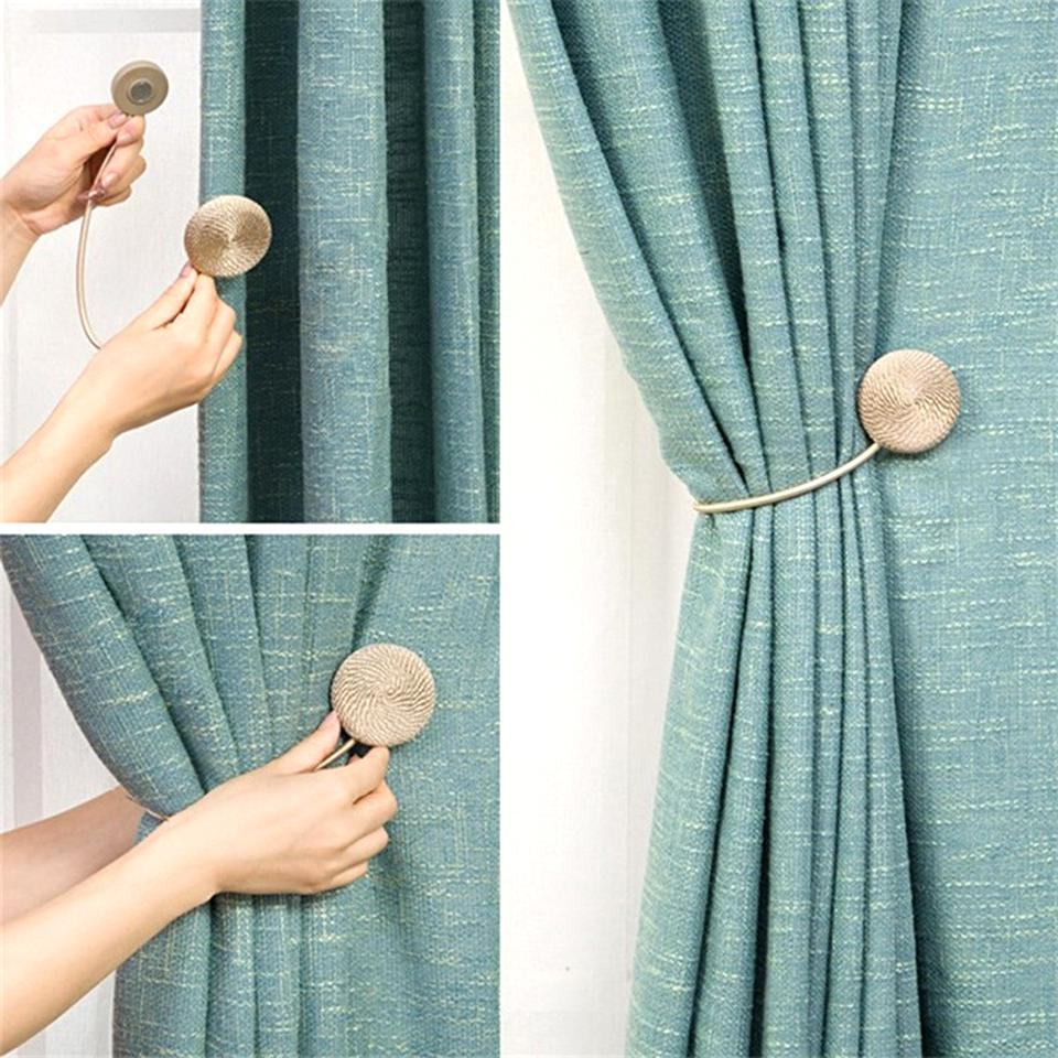 1pc Round Curtain Tieback Tie Back Holdback Ribbon Magnetic Fine Home Room Decor
