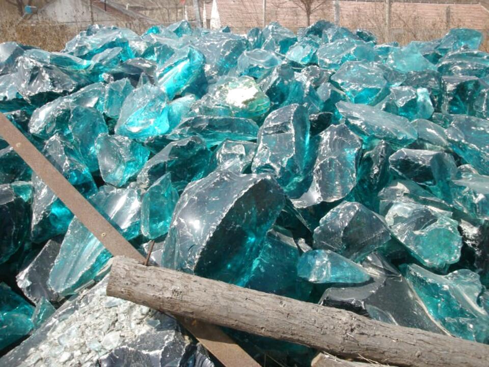 Blue Slag Glass Chunks For Only, Slag Glass Chunks
