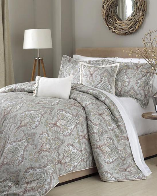 NEW Raymond Waites Bedding 3 Piece Cameron FULL QUEEN Coverlet Set Grey Z548