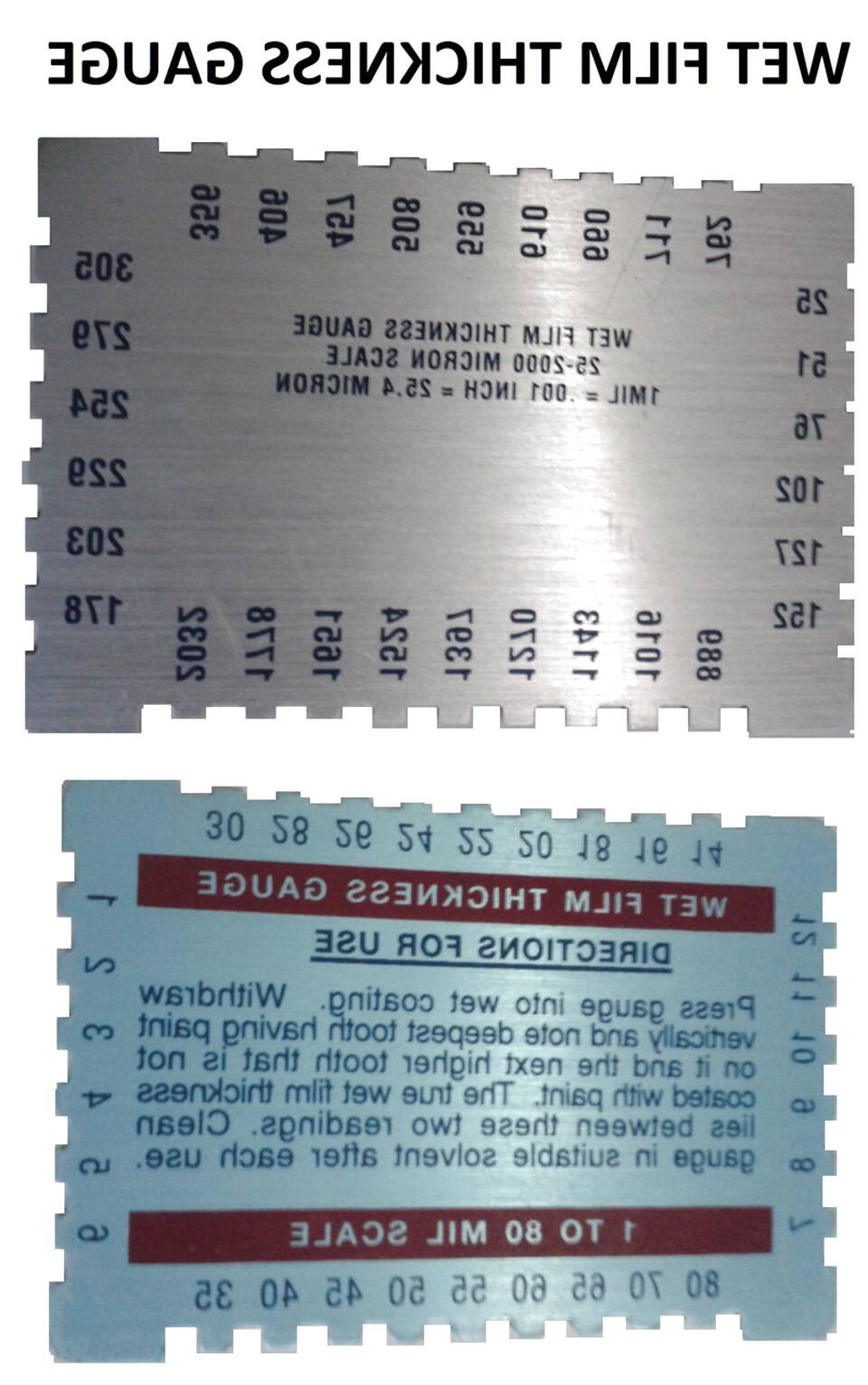 Bon 82-479 Wet Film Gauge 1-80 Mil Scale