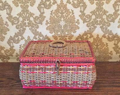 Sewing Box Storage Box with Sewing Accessories Hoverex Vintage Sewing Basket kit