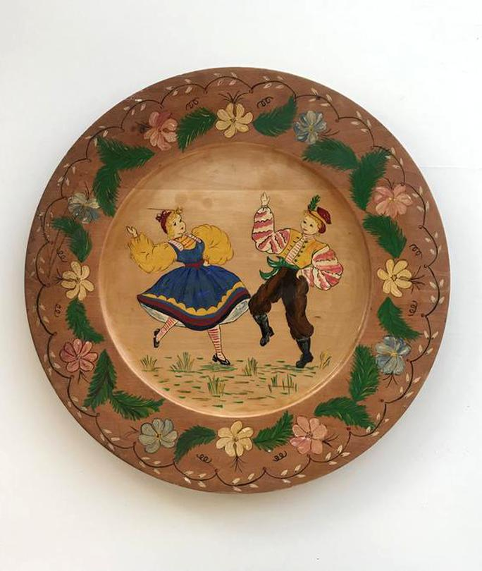 hand painted wood plate for sale