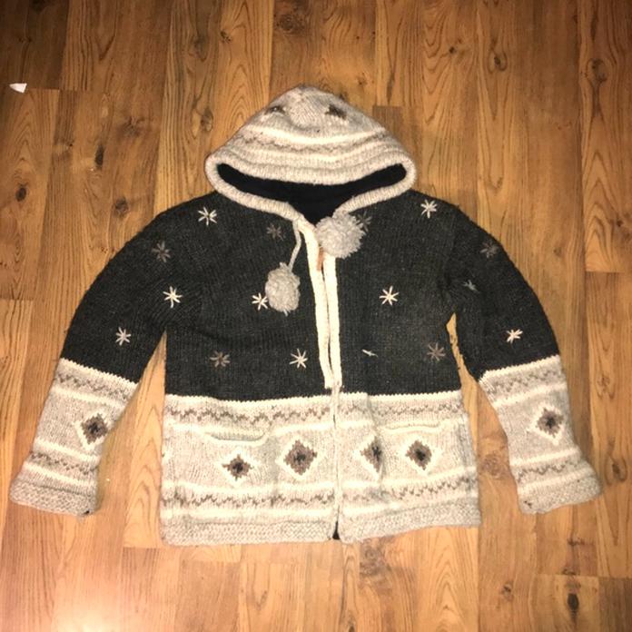 Kyber Outerwear Zip Up Hoodie BOHO Sweatshirt Womens Small Patchwork Hippie