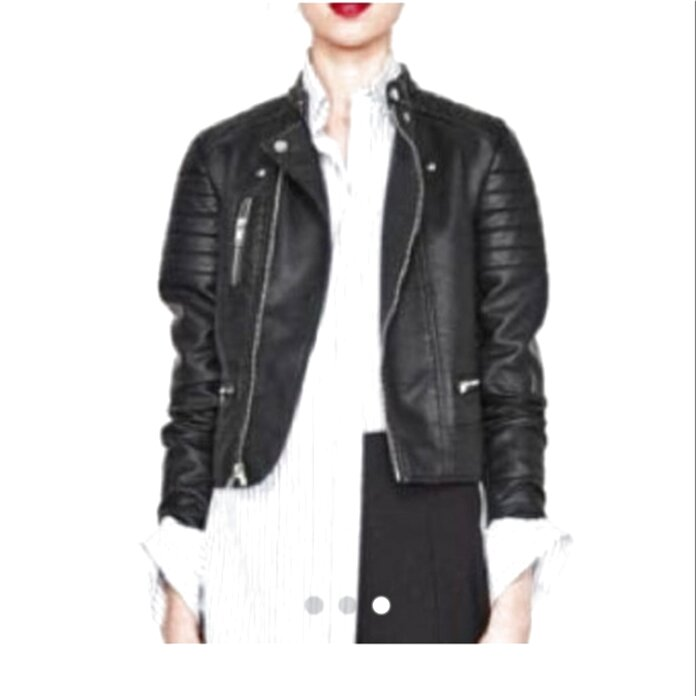 zara black leather jacket women for sale