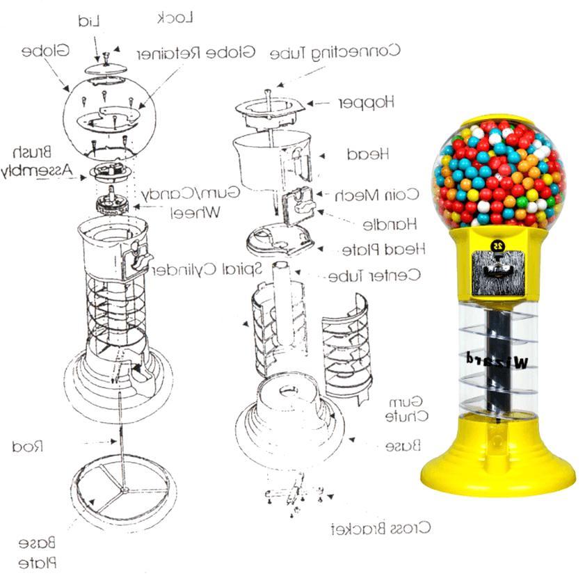 carousel gumball machine parts diagram