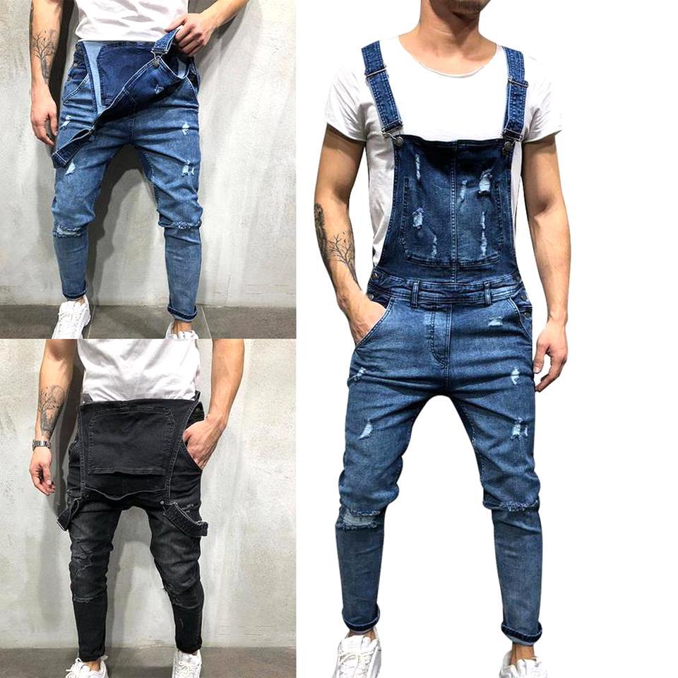 Loliuicca Mens Slim Patch Pocket Denim Bib Overalls Ripped Jeans Slim Jumpsuit