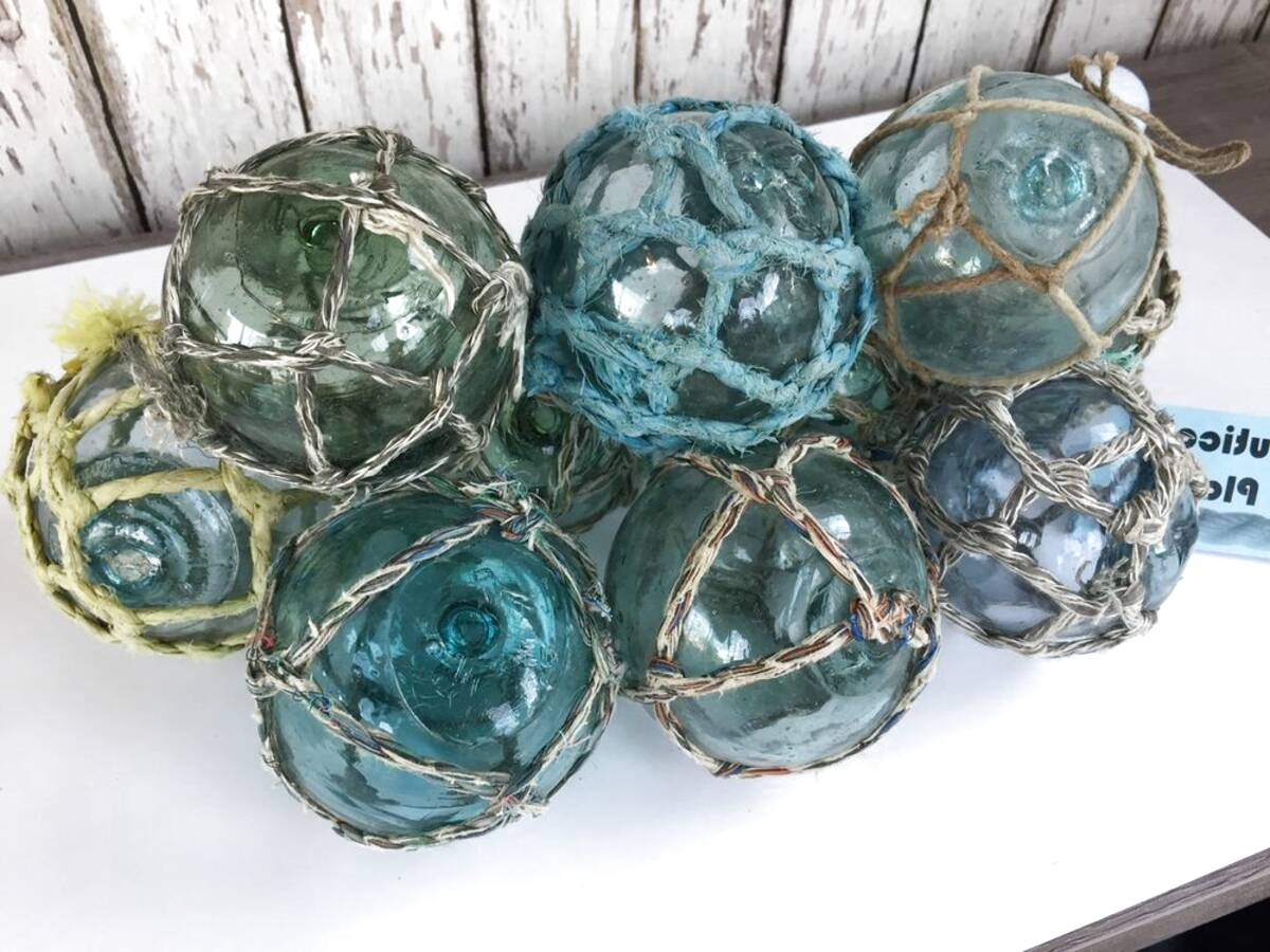 """Japanese Glass Fishing FLOATS 4-4.5/"""" LOT-5 Round Double-Netted ANTIQUES"""